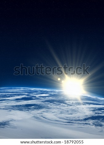 Earth with sunflare.