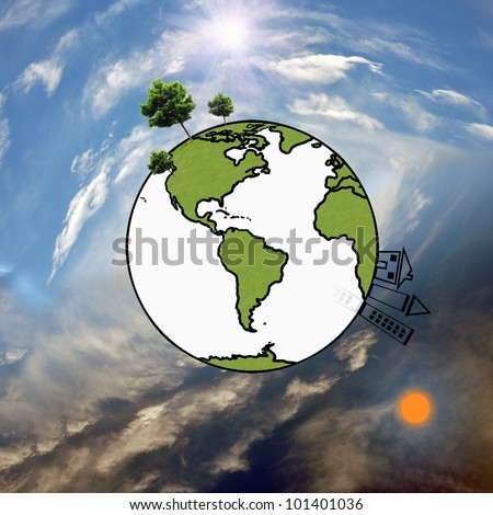 Earth with the different elements on its surface. - stock photo