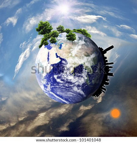 Earth with the different elements on its surface. : Elements of this image furnished by NASA