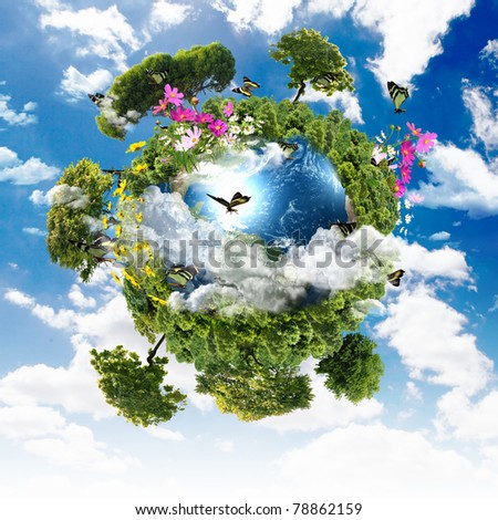 Earth with the different elements on its surface. Humorous collage. - stock photo