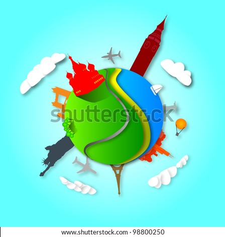 Earth with the different elements on its surface. World famous landmarks. Planet earth travel the world concept on a blue background