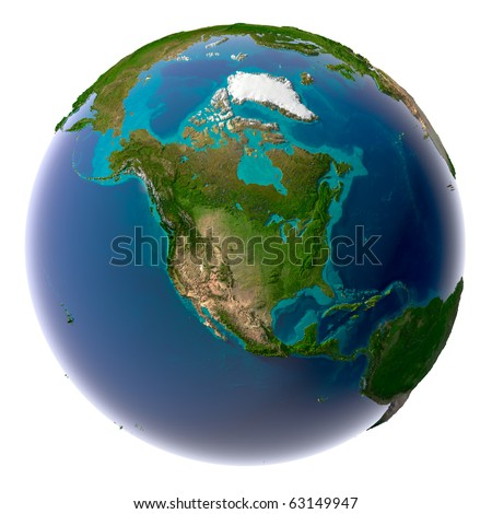 Earth with translucent water in the oceans and the detailed topography of the continents