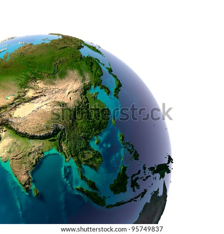 Earth with translucent water in the oceans and the detailed topography of the continents. A fragment of the Asia and Oceania. Isolated on white