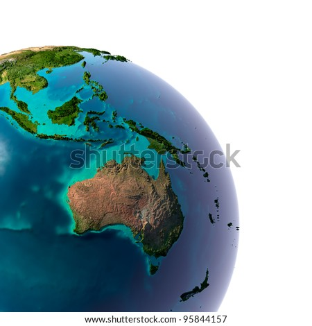 Earth with translucent water in the oceans and the detailed topography of the continents. A fragment of Australia and Oceania. Isolated on white