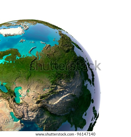 Earth with translucent water in the oceans and the detailed topography of the continents. A fragment of the Asia. Isolated on white