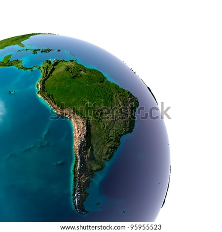 Earth with translucent water in the oceans and the detailed topography of the continents. Detail of the Earth with South America. Isolated on white.