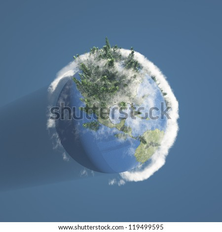 Earth with trees and clouds