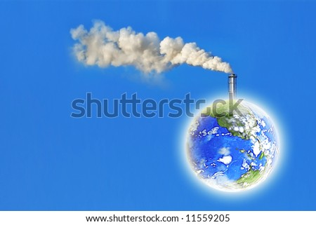 earth with white factory smoke