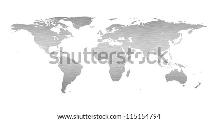 Earth world map with a brushed metal texture