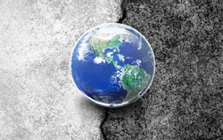 Earth World on Half White and Half Black Concrete Floor, Choose the right way for our world concept, Elements of this image furnished by NASA
