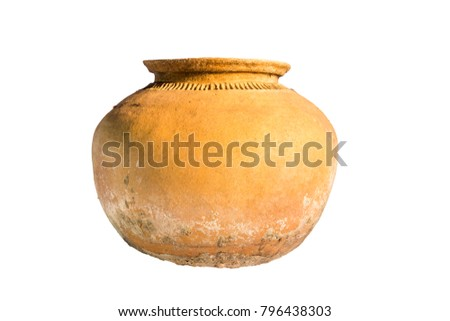earthen jar isolated on white background #796438303