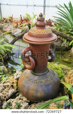 Earthenware in garden