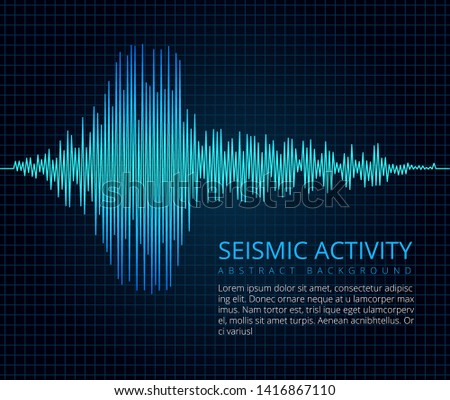 Earthquake frequency wave graph, seismic activity. abstract scientific background. Diagram seismograph, vibration amplitude illustration