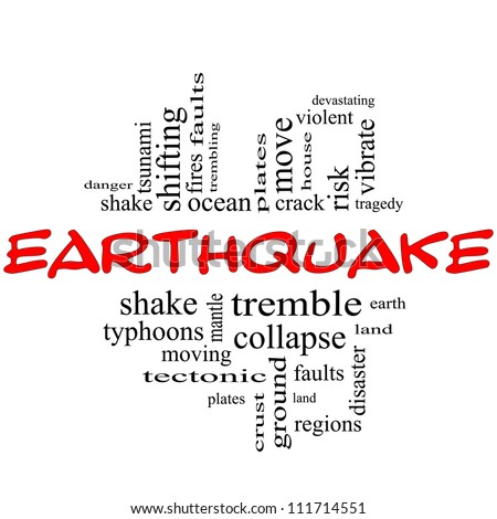 Earthquake Word Cloud Concept in red and black letters with great terms such as shake, tremble, plates, earth, land and more.