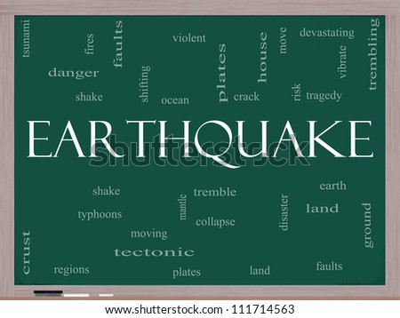 Earthquake Word Cloud Concept on a Blackboard with great terms such as shake, tremble, plates, earth, land and more.