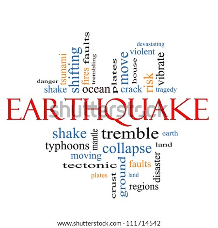Earthquake Word Cloud Concept with great terms such as shake, tremble, plates, earth, land and more.