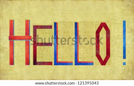 Earthy background and design element depicting the word HELLO