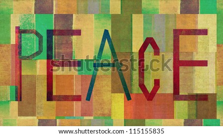 "Earthy background and design element depicting the word ""peace"""
