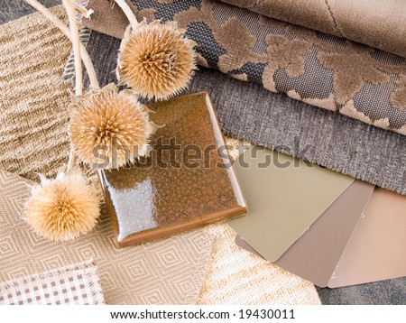 Earthy brownish interior design plan - handcrafted ceramic tile, fabric and paint color swatches
