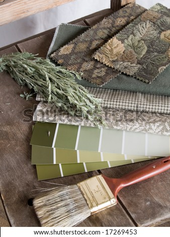 Earthy green paint plan - stock photo