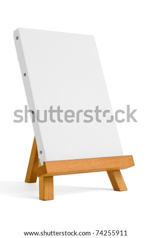 easel for artist. tripod for painting with empty canvas.
