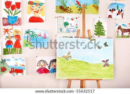 Easel in art class. Interior. - stock photo