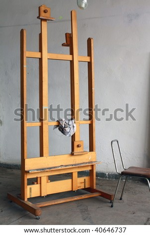 Easel in paint studio