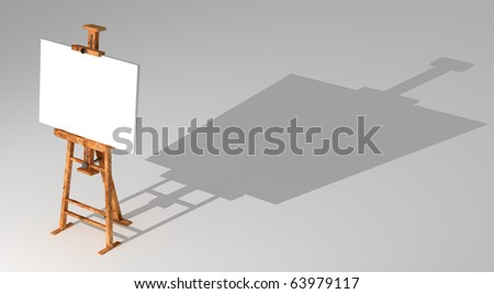 Easel with blank canvas isolated on white background 3D render