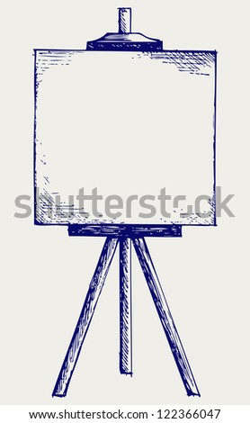Easel with empty canvas. Doodle style. Raster version