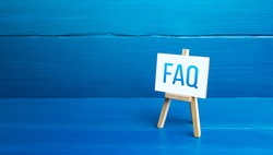 Easel with FAQ (frequently asked questions). Available answers to overcome difficulties and misunderstandings. Guide, navigation. Tips, comments. Explanation in simple language. Instructions and rules
