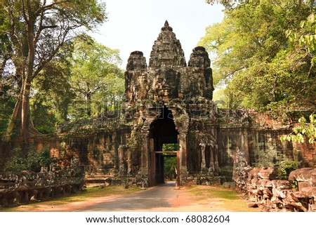 East ancient gate to Angkor Thom, Siem Reap, Cambodia - stock photo