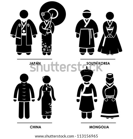 East Asia - Japan South Korea China Mongolia Man Woman People National Traditional Costume Dress Clothing Icon Symbol Sign Pictogram