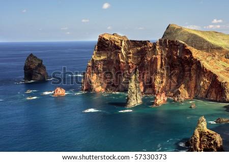 East  coast of Madeira island ? Ponta de Sao Lourenco - stock photo