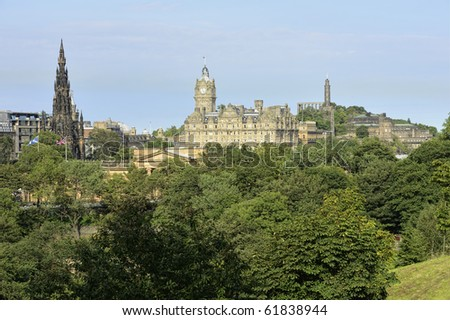 East End of Princes Street, Edinburgh, Scotland, with the Scott Monument, Balmoral Hotel, and Calton Hill on the skyline, roof of the National Gallery of Scotland in the foreground
