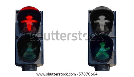 East Germany Ampelmann traffic lights in Berlin - isolated over white background