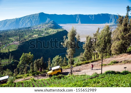 EAST JAVA,INDONESIA-MAY 05 : Tourists Jeep for tourist rent at Mount Penanjakan,The best views from Mount Bromo and the surrounding volcanoes are at sunrise on May 05,2013 in East Java , Indonesia
