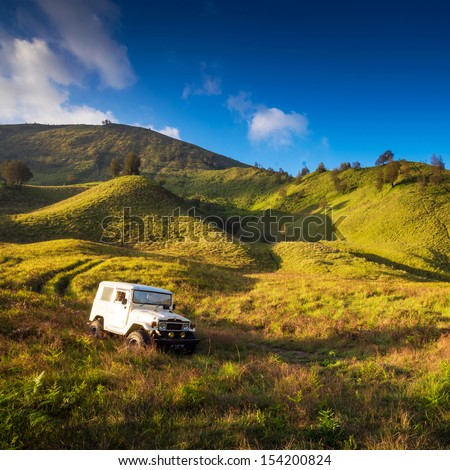 EAST JAVA,INDONESIA-MAY 05 : Tourists 4x4 for tourist rent at Mount Bromo,The active Mount Bromo is one of the most visited tourist attractions on May 05,2013 in East Java , Indonesia.
