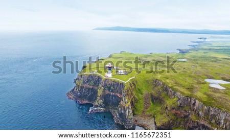 East Lighthouse Rathlin Island Aerial photo Atlantic Ocean Co. A Stock photo ©