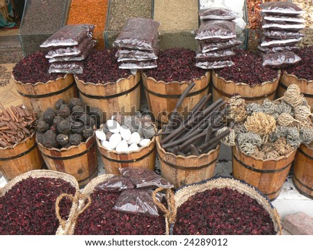 East market, sale of spices and tea