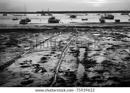 East Mersea island sea side town in Essex in sunset