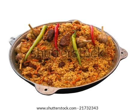 East pilaw with hot spices on a white background