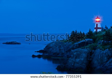East Quoddy lighthouse on Campobello island at twilight