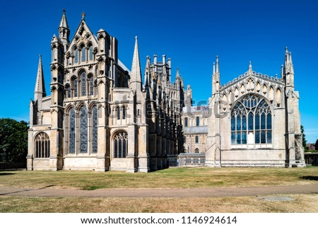 East Side of Ely Cathedral in Ely, Cambridgeshire, England Stock fotó ©