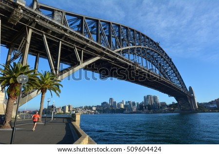 East side of Sydney harbour bridge with Sydney city north side and blue sky in the background for copy space.