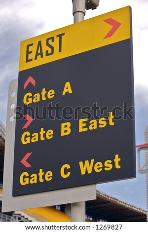 East Sign at a Stadium