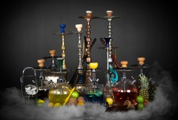 East smoking hookah. Arabian shisha with fruits. Hookah and apple.Trendy hookah