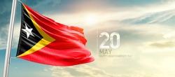 East Timor (Timor-Leste) national flag waving in beautiful sunlight.