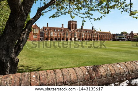 Eastbourne College, East Sussex, England. The main building and cricket grounds of the co-educational independent private school on the UK south coast. Foto stock ©