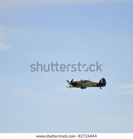EASTBOURNE, ENGLAND - AUGUST 12 - Rare operational British Hawker Hurricane bomber at annual International Airshow on 12th August 2011 at Eastbourne in England