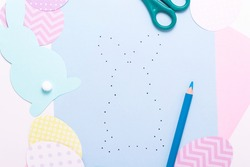Easter activities. Dot to dot painting bunny game. Line art easter rabbit game for children. Dot to dot drawing activity page. Top view.